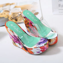 Load image into Gallery viewer, Korean Transparent Cool Floral Printed Wedges Platform Summer Slippers