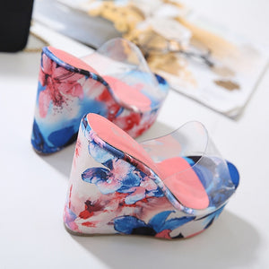 Korean Transparent Cool Floral Printed Wedges Platform Summer Slippers