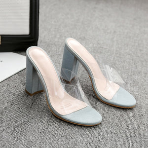 Women Shoes Korean Style Summer Transparent Simple High-heeled Slippers
