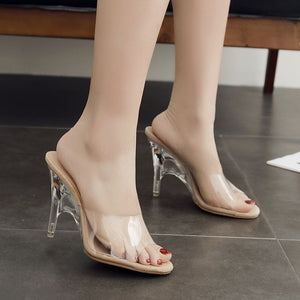 Transparent Crystal Shoes High-heeled Slipper