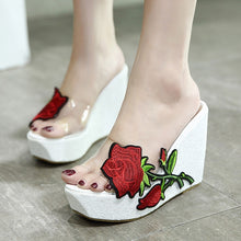 Load image into Gallery viewer, Embroidery Flowers Women Summer Wedge Platform Sandals Slippers