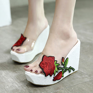 Embroidery Flowers Women Summer Wedge Platform Sandals Slippers