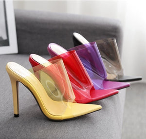 Candy Color Women Shoes Transparent Sexy High Heel Slippers