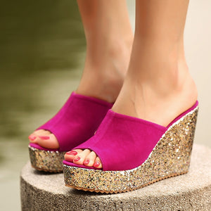 Women Shoes Sequined Wedges Platform Slippers