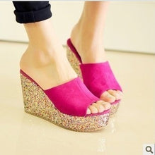 Load image into Gallery viewer, Women Shoes Sequined Wedges Platform Slippers