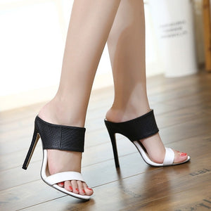 Women Shoes Color Matching High Heel Slippers