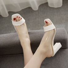 Load image into Gallery viewer, Korean Summer Women Shoes Transparent High Heel Slippers