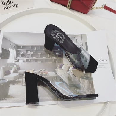 Korean Summer Casual Transparent Slipper Sandals with Thick Heels