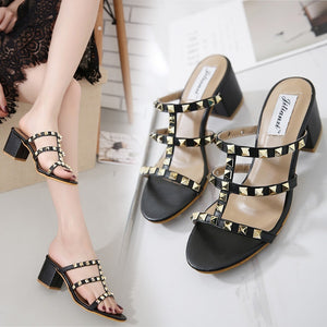 Studded Women Shoes Middle Heel Sandals Summer Open-toed Slippers