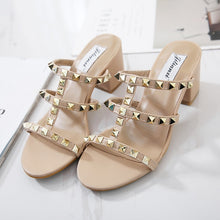 Load image into Gallery viewer, Studded Women Shoes Middle Heel Sandals Summer Open-toed Slippers