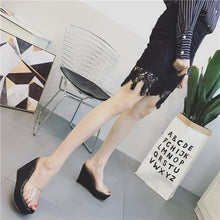 Load image into Gallery viewer, Korean Summer Women Shoes Transparent Sequined Wedges Sandals Slippers