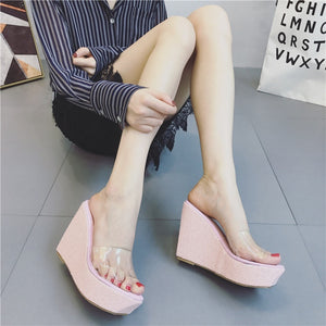 Korean Summer Women Shoes Transparent Sequined Wedges Sandals Slippers