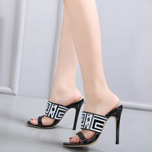 Load image into Gallery viewer, sexy women shoes letter printed cool high-heeled slippers