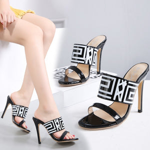 sexy women shoes letter printed cool high-heeled slippers