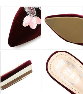 Casual Women Shoes Loafer Pointed Toe Slipper Korean Style with Embroidery