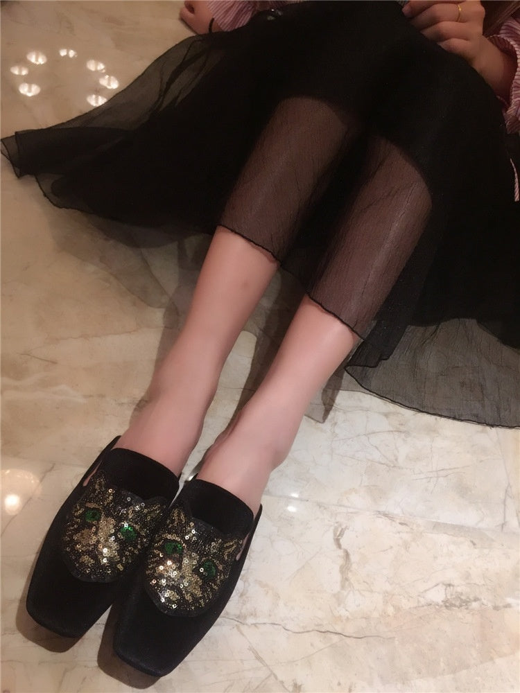 Casual Loafer Women Shoes Slippers with Sequins Square Head