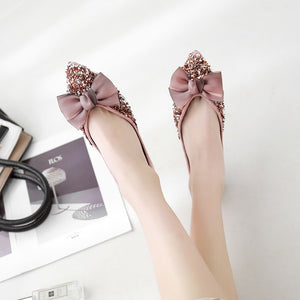 Casual Loafer Women Shoes Pointed Toe Sequined Bow Tie Flats