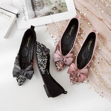 Load image into Gallery viewer, Casual Loafer Women Shoes Pointed Toe Sequined Bow Tie Flats