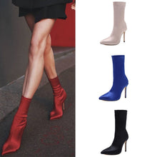 Load image into Gallery viewer, Sexy Women Shoes Pointed Toe High Heel Satin Elastic Short Boots