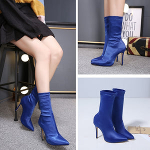 Sexy Women Shoes Pointed Toe High Heel Satin Elastic Short Boots