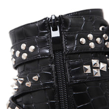 Load image into Gallery viewer, Winter Women Shoes Chunky High Heels Ankle Boots with Rivet Metal Chain Belt