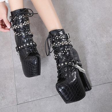 Winter Women Shoes Chunky High Heels Ankle Boots with Rivet Metal Chain Belt
