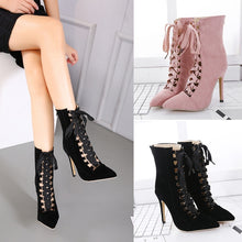 Load image into Gallery viewer, Cross Strap Pointed Toe Women High Heel Stiletto Heel Short Boots
