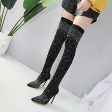 Load image into Gallery viewer, Nightclub Pointed Toe Thigh High Boots with Rhinestone Elastic