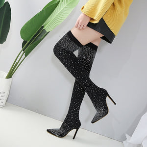 Nightclub Pointed Toe Thigh High Boots with Rhinestone Elastic
