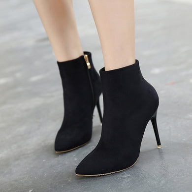 Sexy Winter Women Shoes Suede Pointed Toe Ankle Boots