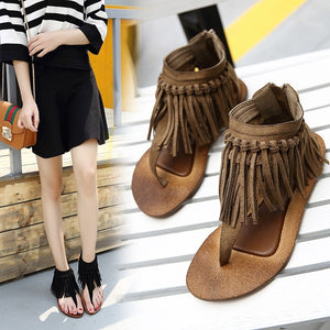 Casual Summer Flats Sandals with Tassels Roman Women Shoes