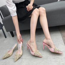 Load image into Gallery viewer, Korean Women Shoes Sexy Pointed Toe Pumps with Pearl Thin Heel Slippers
