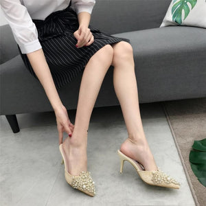 Korean Women Shoes Sexy Pointed Toe Pumps with Pearl Thin Heel Slippers