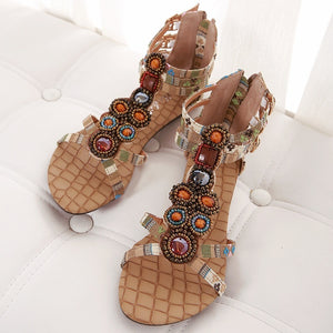 Summer Bohemian Women Casual Flat-bottomed Beaded Sandals Large Size