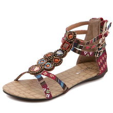 Load image into Gallery viewer, Summer Bohemian Women Casual Flat-bottomed Beaded Sandals Large Size