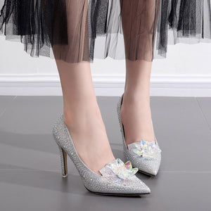 Sexy Women Wedding Shoes High-heeled Rhinestones Pointed Toe Stiletto Pumps