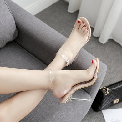 Sexy Women Shoes One Word Sandals Transparent Open Toe High Heel