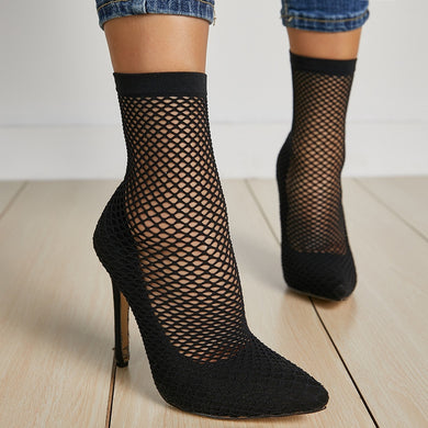 Sexy Women Shoes Pointed Toe Socks Boots with Hollowed Mesh Elastic