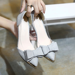 Shallow Pointed Toe Women Shoes Sequin Low Heels Pumps