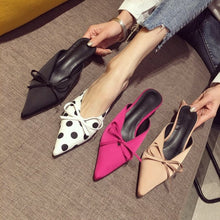 Load image into Gallery viewer, Korean Women Shoes Pointed Toe Bowtie Medium-heeled Slippers