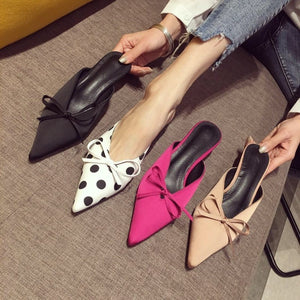 Korean Women Shoes Pointed Toe Bowtie Medium-heeled Slippers
