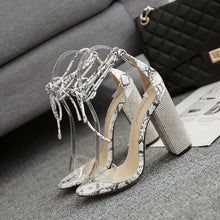 Load image into Gallery viewer, Transparent Rhinestone Strap Women Chunky Heels Sandals