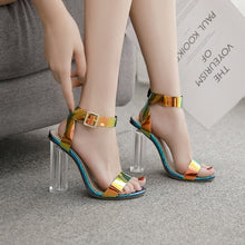 Load image into Gallery viewer, Summer Crystal Chunky Heels Large Size Women Sandals