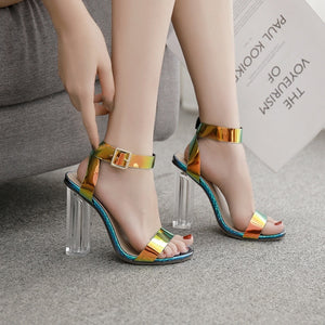 Summer Crystal Chunky Heels Large Size Women Sandals