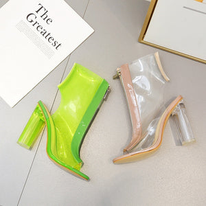 Fish Mouth Chunky Sandals Sexy Transparent High Heel Summer