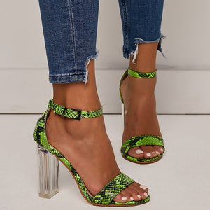 Transparent Heels Color Matching Fluorescent Serpentine Buckle Large Size Chunky Sandals