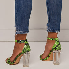 Load image into Gallery viewer, Transparent Heels Color Matching Fluorescent Serpentine Buckle Large Size Chunky Sandals