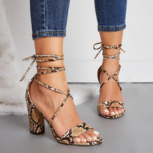 Load image into Gallery viewer, Large-size Sexy Women Strappy High Heel Chunky Sandals