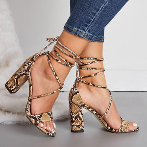Large-size Sexy Women Strappy High Heel Chunky Sandals