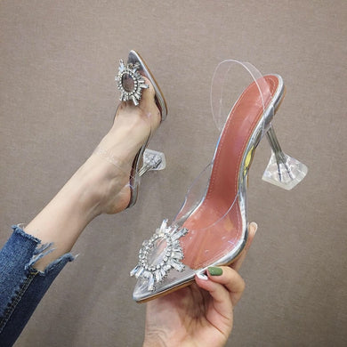 Summer Rhinestone Transparent High Heel Spool Heel Sandals